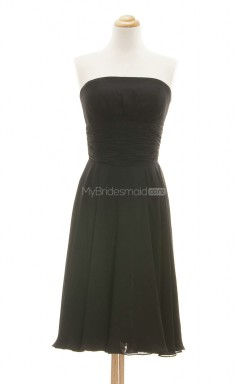 Elegant Black A Line Strapless Chiffon Bridesmaid Dresses (BSD209)