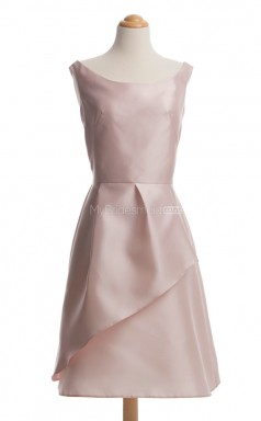Classic Pearl Pink A Line Scoop Charmeuse Bridesmaid Dresses (BSD217)