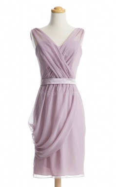 Affordable Lilac Column/Sheath V Neck Chiffon Bridesmaid Dresses (BSD218)