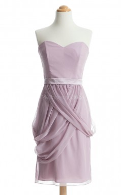 Fashion Lilac Column/Sheath Strapless Chiffon Bridesmaid Dresses (BSD219)