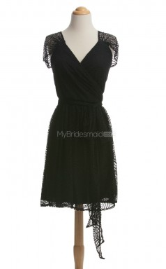 Vintage Black A Line V Neck Lace Bridesmaid Dresses (BSD225)