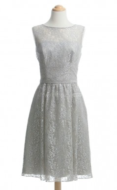 Luxurious Silver A Line Jewel Lace Bridesmaid Dresses (BSD232)
