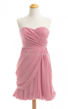 Elegant Watermelon A Line Strapless Chiffon Bridesmaid Dresses (BSD233)