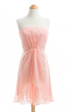 Gorgeous Orange A Line Strapless Chiffon Bridesmaid Dresses (BSD234)