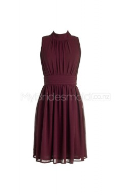Custom Color Short High Collar Bridesmaid Dresses BSD261