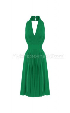Custom Color Halter Chiffon Short Bridesmaid Dress BSD290