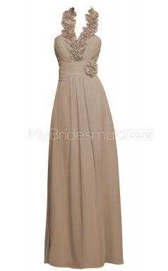 Custom Color Halter Chiffon Long Bridesmaid Dress BSD360