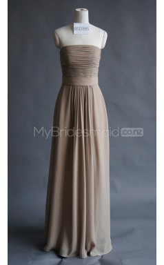 Custom Color Strapless Chiffon Long Bridesmaid Dress BSD385