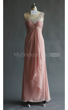 Custom Color One Shoulder Chiffon Long Bridesmaid Dress BSD400