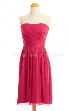 Custom Color Strapless Chiffon Short Bridesmaid Dress BSD425