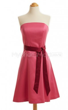 Custom Color Short Strapless Bridesmaid Dresses BSD436