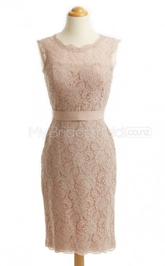 Custom Color Column/Sheath Short Lace Bridesmaid Dress BSD439