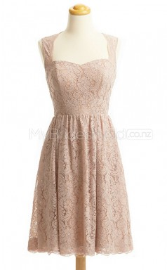 Custom Color Sweetheart Lace Short Bridesmaid Dress BSD440