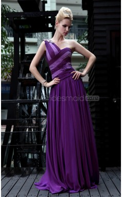 One Shoulder Sweep Train Regency Homecoming Dress (GZNZ30572)