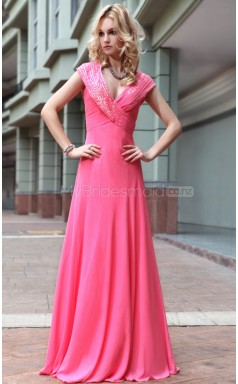 Red V-neck Long Evening Dress (GZNZ30588)