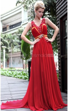 Long Red Party Dress with Beadings and Pleats(GZNZ30591)