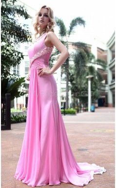 Sweep Train Pink One Shoulder Ball Dress (GZNZ30596)