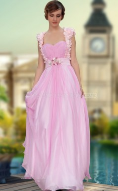 Square A-line Pearl Pink Evening Gown with Straps (GZNZ30630)