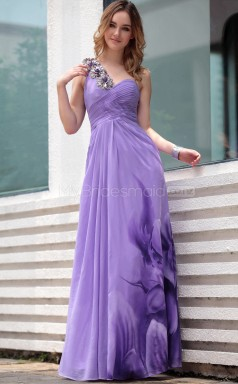 A-line Long Lilac One Shoulder Party Dress (GZNZ30657)