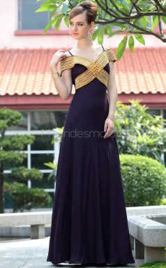 Black Off The Shoulder Long Wedding Guest Dress (GZNZ30658)