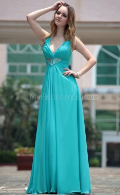 V-neck A-line Blue Party Dress (GZNZ30671)