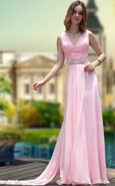 Long Pink V-neck Graduation Dress (GZNZ30672)