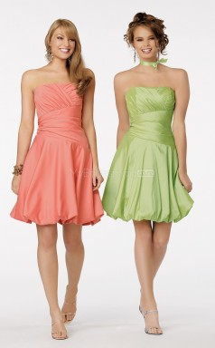 Watermelon A-line Strapless Taffeta Short Ball Dresses (NZJT06001)