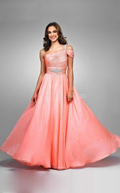 Watermelon A-line Floor-length Chiffon One Shoulder Ball Dresses (NZJT06008)