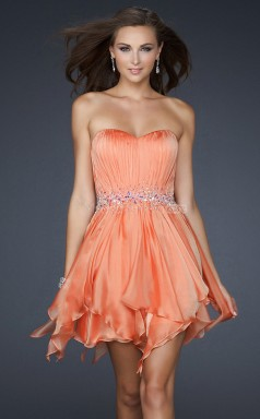 Orange Silk Like Chiffon A-line Sweetheart Asymmetrical School Ball Gowns(NZJT06013)