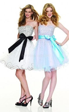Ivory Organza A-line Sweetheart Neckline Short School Ball Gowns(NZJT06016)