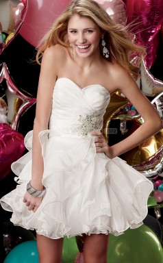 White Organza Princess Sweetheart Neckline Short School Ball Gowns(NZJT06022)