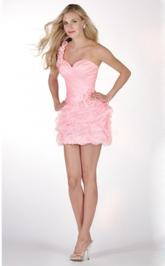 Candy Pink Organza Princess One Shoulder Short School Ball Gowns(NZJT06028)