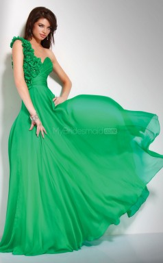 Silk Like Chiffon A-line One Shoulder Floor-length Jade Ball Dresses (NZJT06032)