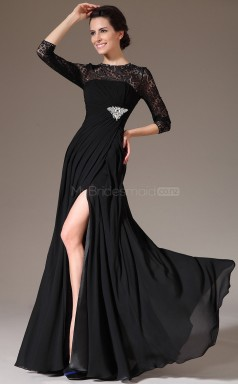 Vintage Black Chiffon and Lace Long Bridesmaid Dress NZJT061313