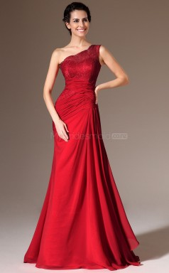 Informal Red One Shoulder Chiffon and Lace Bridesmaid Dress NZJT061350