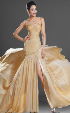 Dropped waist Gold Long Square Neck Chiffon Bridesmaid Dress NZJT061385