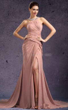 Nude Long Chiffon Bridesmaid Dress NZJT061408