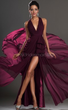 Chiffon A-line Halter Asymmetrical Grape Ball Dresses (NZJT06401)