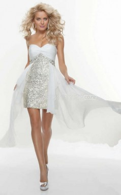 Sequined Sheath Sweetheart Asymmetrical White Ball Dresses (NZJT06406)