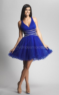Royal Blue Princess V-neck Organza Short Ball Dresses (NZJT06424)
