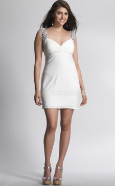 Ivory Sheath Straps Chiffon Short Ball Dresses (NZJT06445)
