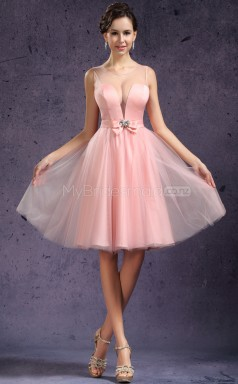 Pearl Pink Princess V-neck Charmeuse Short Ball Dresses (NZJT06460)