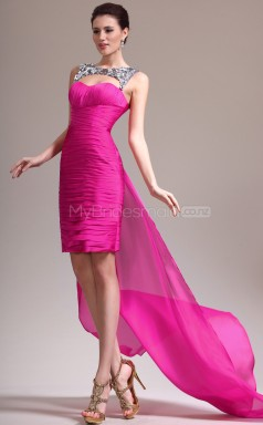 Fuchsia Sheath Sweetheart Chiffon Short Ball Dresses (NZJT06461)