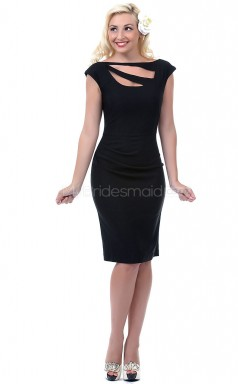 Black Sheath Bateau Satin Chiffon Short Ball Dresses (NZJT06473)
