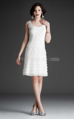 Ivory A-line Scoop Chiffon Short Ball Dresses (NZJT06481)