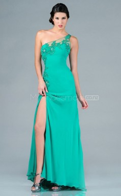 Turquoise Sheath Floor-length Chiffon One Shoulder Ball Dresses (NZJT06499)