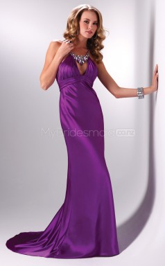 A-line Jewel Strench Satin Long Ball Dresses (NZJT06526)