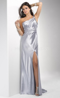 Silver Sheath Court Train Strench Satin One Shoulder Ball Dresses (NZJT06530)