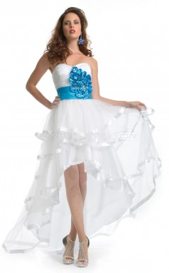 Tulle A-line Sweetheart Asymmetrical White Ball Dresses (NZJT06600)