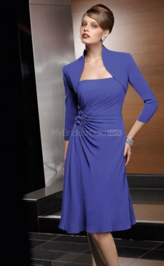Royal Blue A-line Strapless Chiffon Short Ball Dresses (NZJT06649)